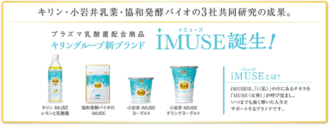 iMUSE(イミューズ)キリン・小岩井乳業・協和発酵バイオの3社共同研究の成果